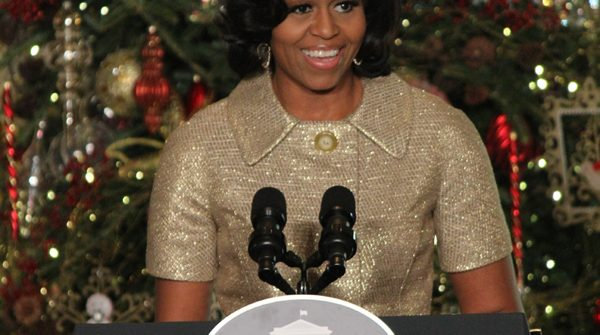 Michelle Obama speaking at the White House 'Joy to All' Holiday Event