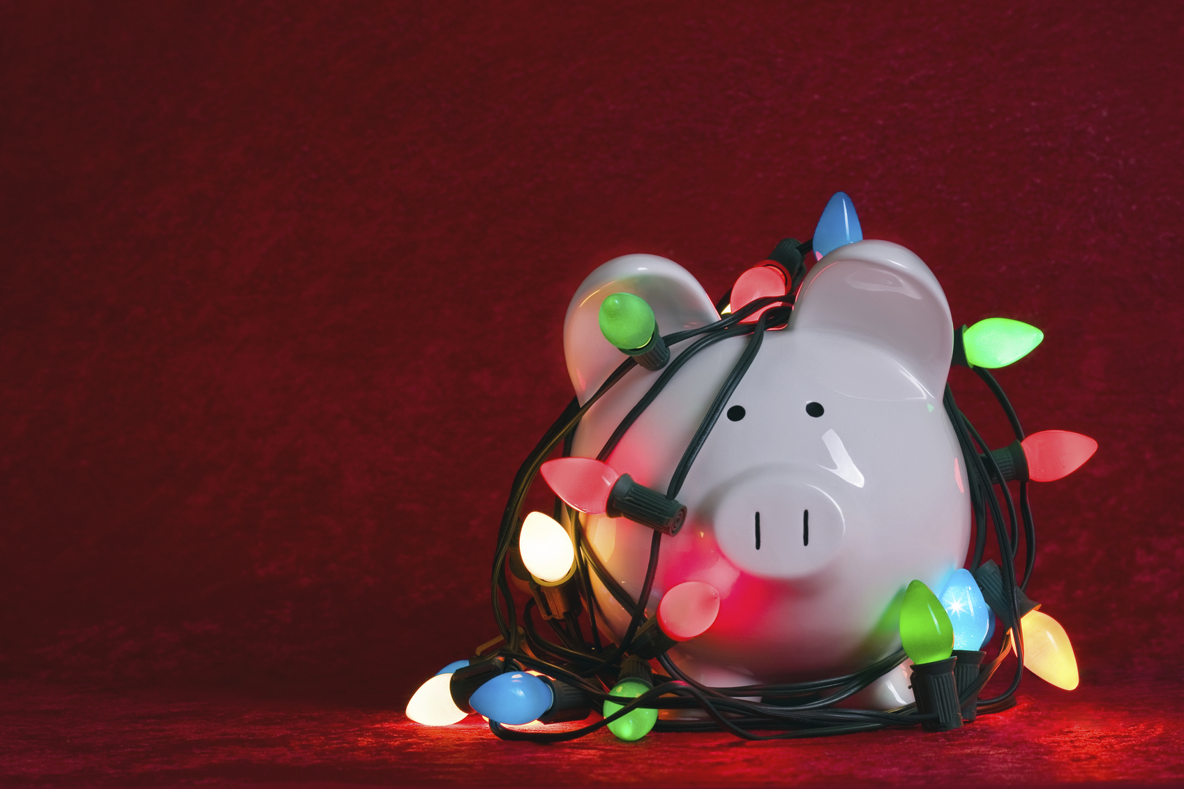 Piggy Bank tangled in colorful holiday lightsRelated images: