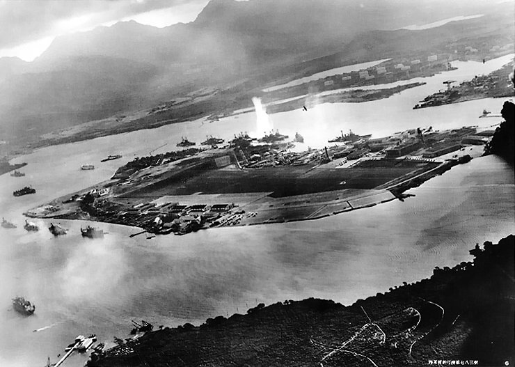 Photo taken from one of the Japanese bombers during the first wave of the Pearl Harbor attack. (Japanese Ministry of Defense Archives)
