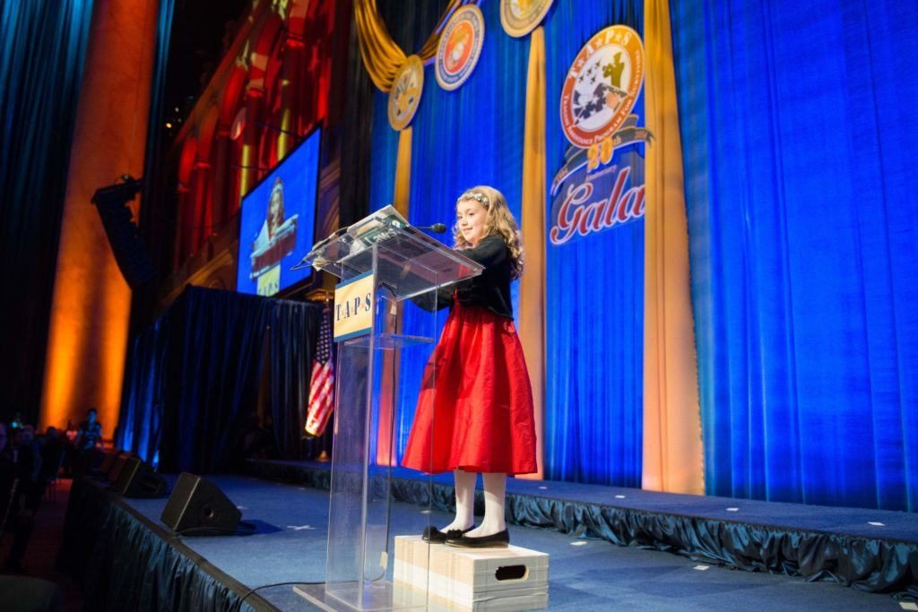 Lizzy introducing Gen. Dempsey at the TAPS Gala for the first time. (Photo: Erin Yaggy)