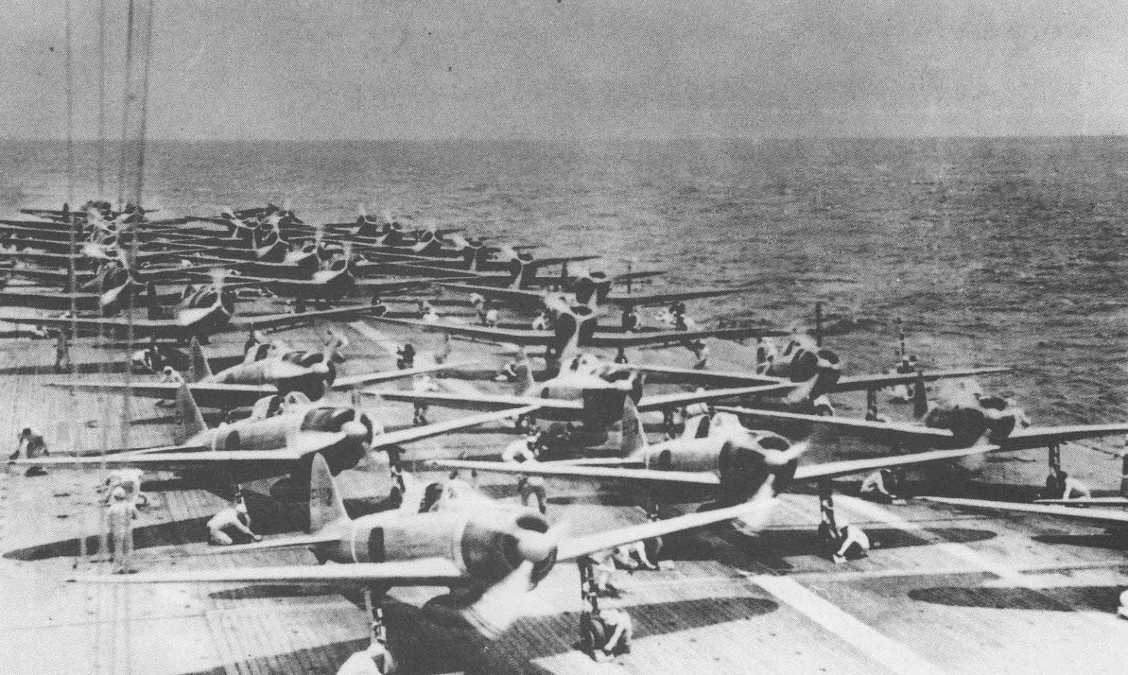 First wave of aircraft bound for Pearl Harbor readies to launch from Japanese carrier Shokaku. (Photo: Japanese Ministry of Defense Archives)