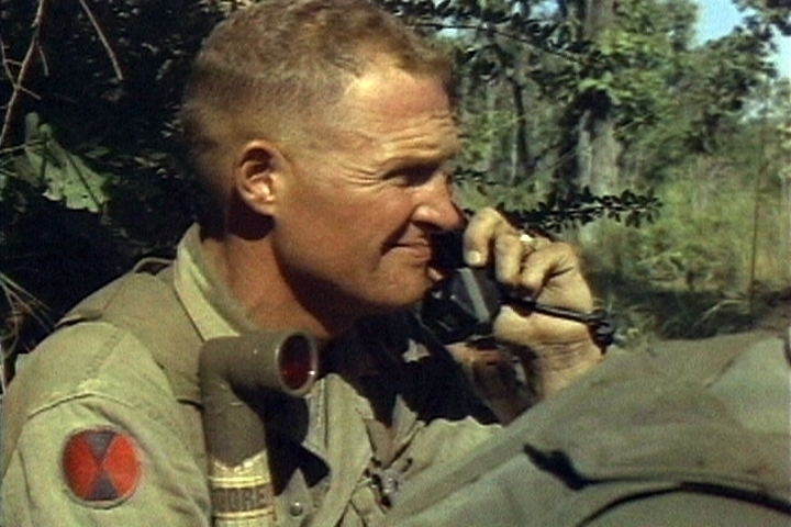 Then-Col. Moore on the radio during a battle in Vietnam. (Photo: U.S. Army)