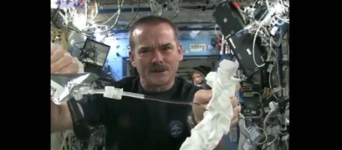 This is what happens when you wring out a towel in space